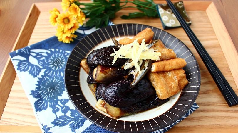 秋なすと油揚げのいりこ煮-重陽の節句レシピ-1